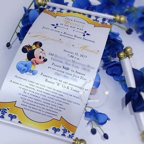 Royal Prince Baby Mickey Mouse Birthday Scroll Invitation - Simply Fab Chic
