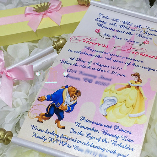 Beauty and the Beast Princess Belle Royal Disney Princess Scroll Birthday Invitation | Wedding Invitation Handmade - Simply Fab Chic