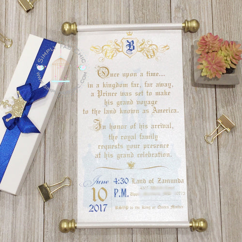 Little Prince Royal Baby Shower Scroll Invitation in Royal Blue and Gold - Simply Fab Chic