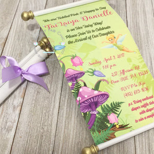 Tinkerbell Baby Shower Scroll Birthday Invitation - Simply Fab Chic