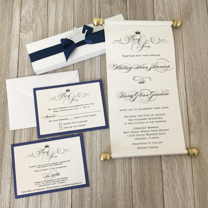 Wedding Royal Scroll Invitation Vow Renewal Invite - Simply Fab Chic