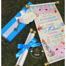 Load image into Gallery viewer, Alice in Wonderland Scroll Invitation Vintage Tea Party Blue Pink Gold - Simply Fab Chic