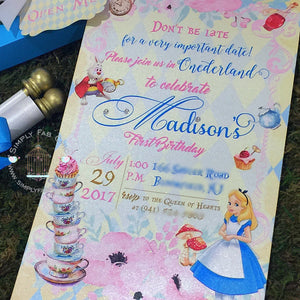 Alice in Wonderland Scroll Invitation Vintage Tea Party Blue Pink Gold - Simply Fab Chic