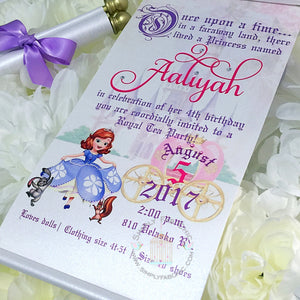 Sofia the First Royal Disney Princess Birthday Scroll Invitation - Simply Fab Chic