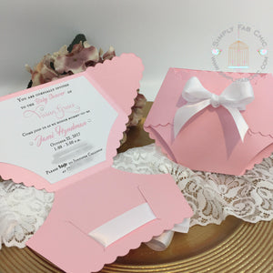 Baby Girl Baby Shower Diaper Invitation in Pink and White - Simply Fab Chic