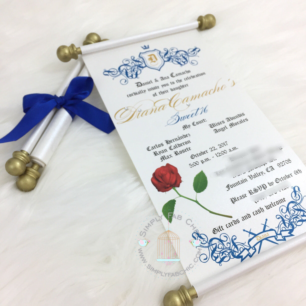 Beauty and the Beast Scroll inspired Invitation Birthday Wedding Sweet 16 Quinceanera - Simply Fab Chic