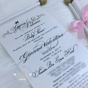 Princess Monogram Baby Shower Scroll Invitation - Simply Fab Chic