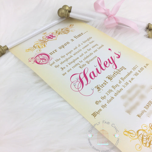 Royal Princess First 1st Birthday Scroll Invitation - Simply Fab Chic