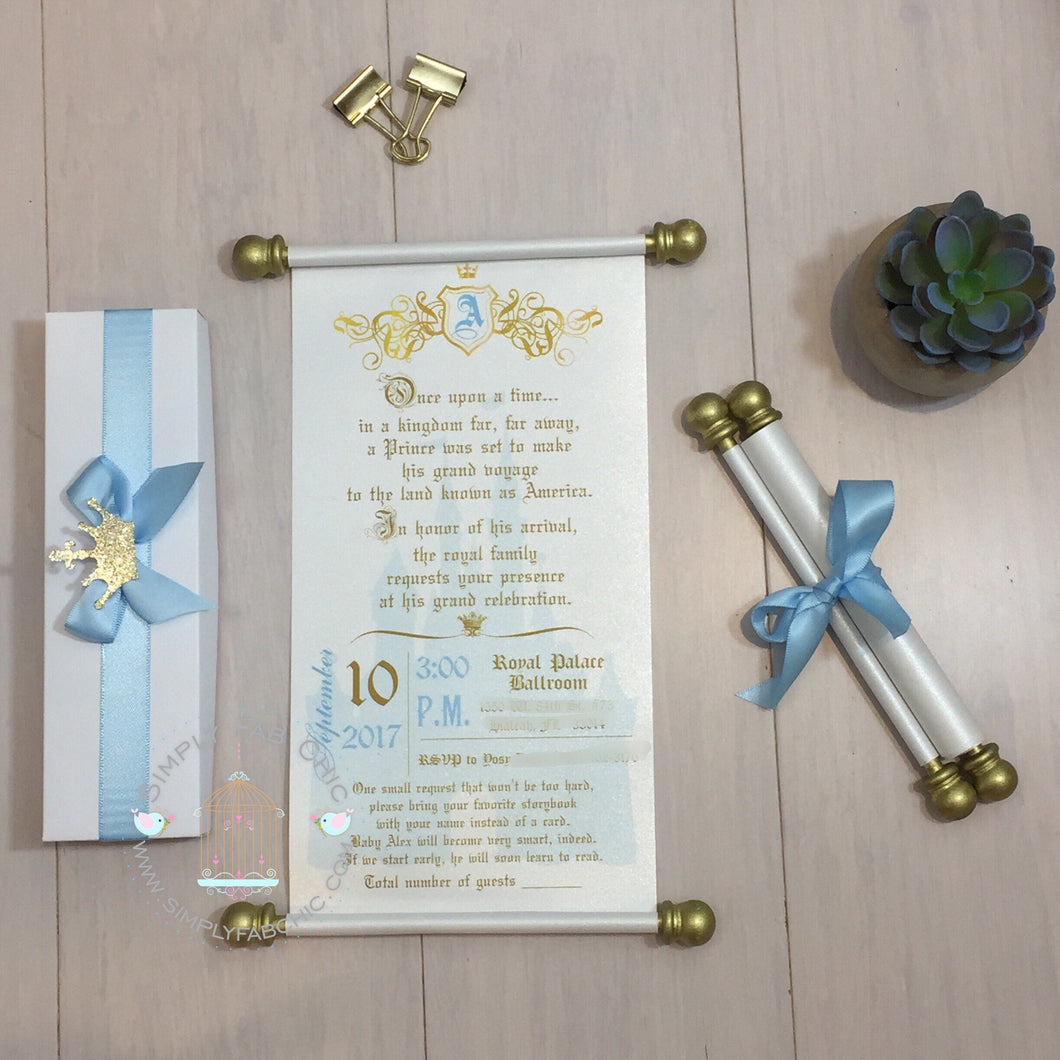 Royal Prince Light Blue & Gold Scroll Birthday Invitation - Simply Fab Chic