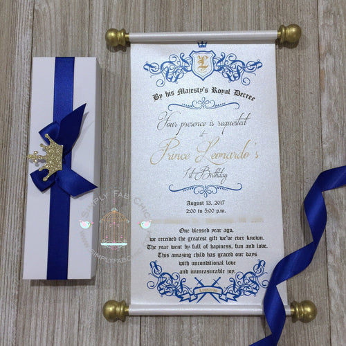 Royal Blue Prince 1st Birthday Scroll Invitation - Simply Fab Chic