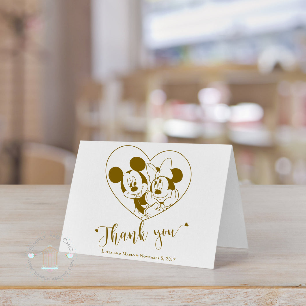 Disney Mickey Minnie Thank You Card (Set of 10) | Wedding Thank You card note | Personalized Thank You - Simply Fab Chic