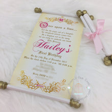 Load image into Gallery viewer, Royal Princess First 1st Birthday Scroll Invitation - Simply Fab Chic