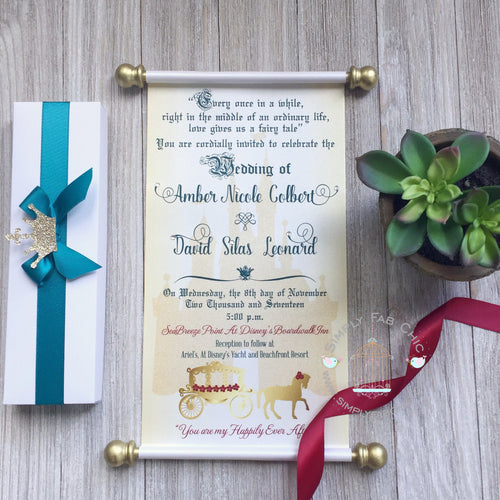 Royal Wedding Scroll Invitation in gold, green & burgundy - Simply Fab Chic