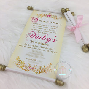 Royal Princess Once Upon a Time Scroll Birthday Invitation - Simply Fab Chic
