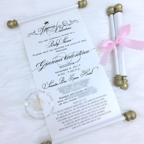 Princess Royal Baby Shower Scroll Invitation with Bible Scripture Religious - Simply Fab Chic