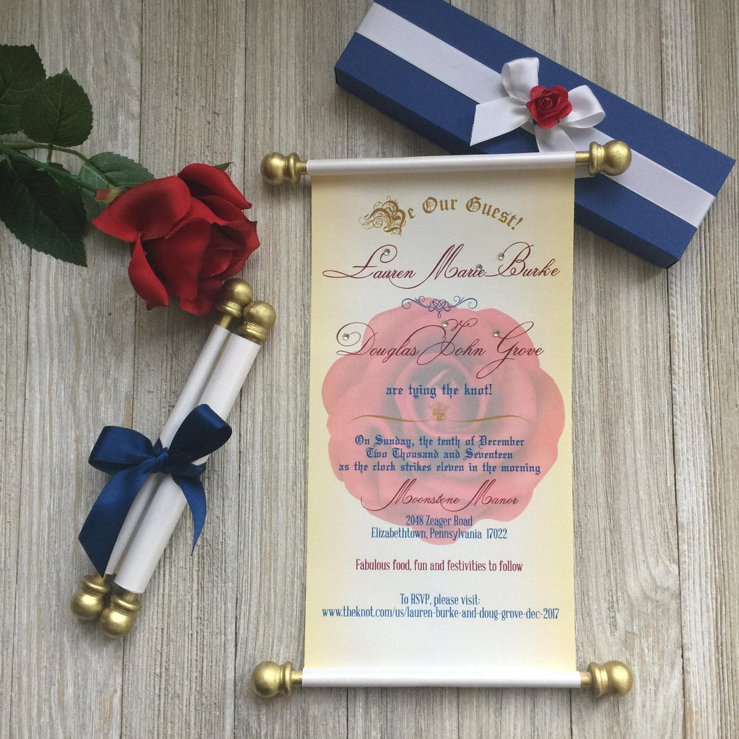 Beauty and the Beast inspired Wedding Scroll Invitation Sweet 16 Birthday Invite Quinceanera - Simply Fab Chic