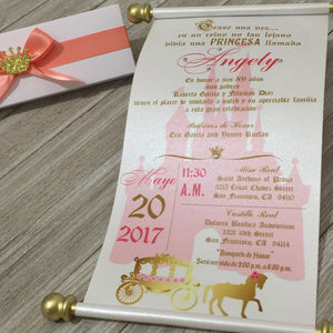 Sweet 16 Spanish Gold Coral Quinceañera Scroll Birthday Invitation - Simply Fab Chic