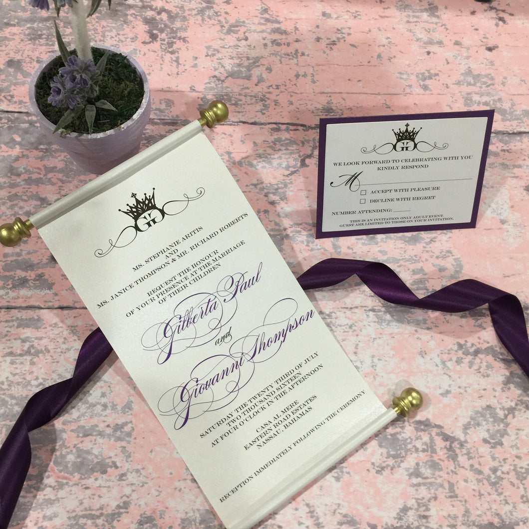 Monogram Royal Wedding Scroll Wedding Invitation | Vow Renewal Invite - Simply Fab Chic
