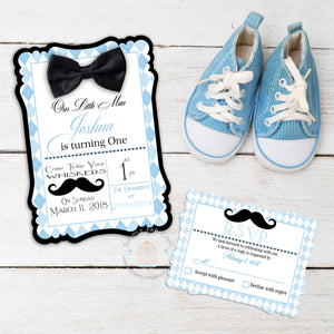 Little Man Gentleman Mustache and Bow Tie Baby First Birthday Invitation - Simply Fab Chic