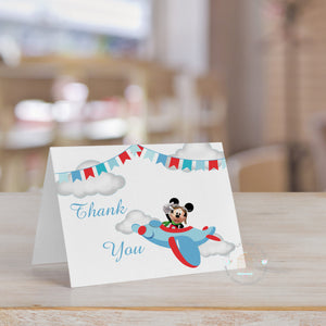 Pilot Mickey Thank You Card (Set of 10) | Aviator Mickey Mouse Thank You card note | Personalized Thank You - Simply Fab Chic