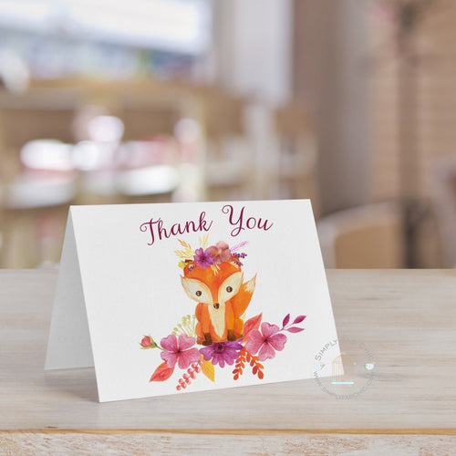 Baby Shower Fox Thank You Card | Fox Watercolor card note | Personalized Thank You - Simply Fab Chic