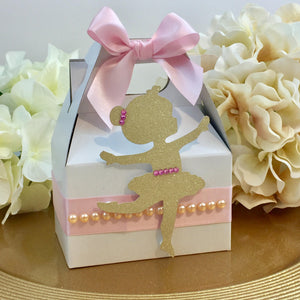 Ballerina Pink Gold Favor Gable Box | Ballet Birthday Treat Snack Box - Simply Fab Chic