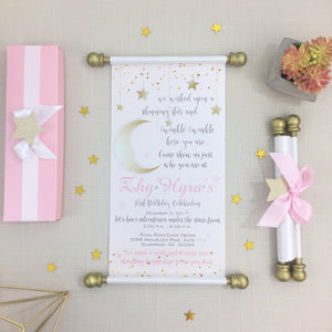 Twinkle Twinkle Little Star Scroll Birthday Invitation Baby Shower Invite - Simply Fab Chic