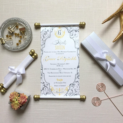 Sweet 16 Gold Silver Scroll Invitation Birthday - Simply Fab Chic