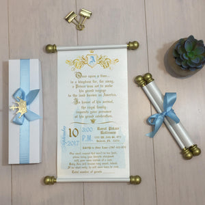 Royal Prince Baby Shower Scroll Invitation in Light Blue & Gold - Simply Fab Chic