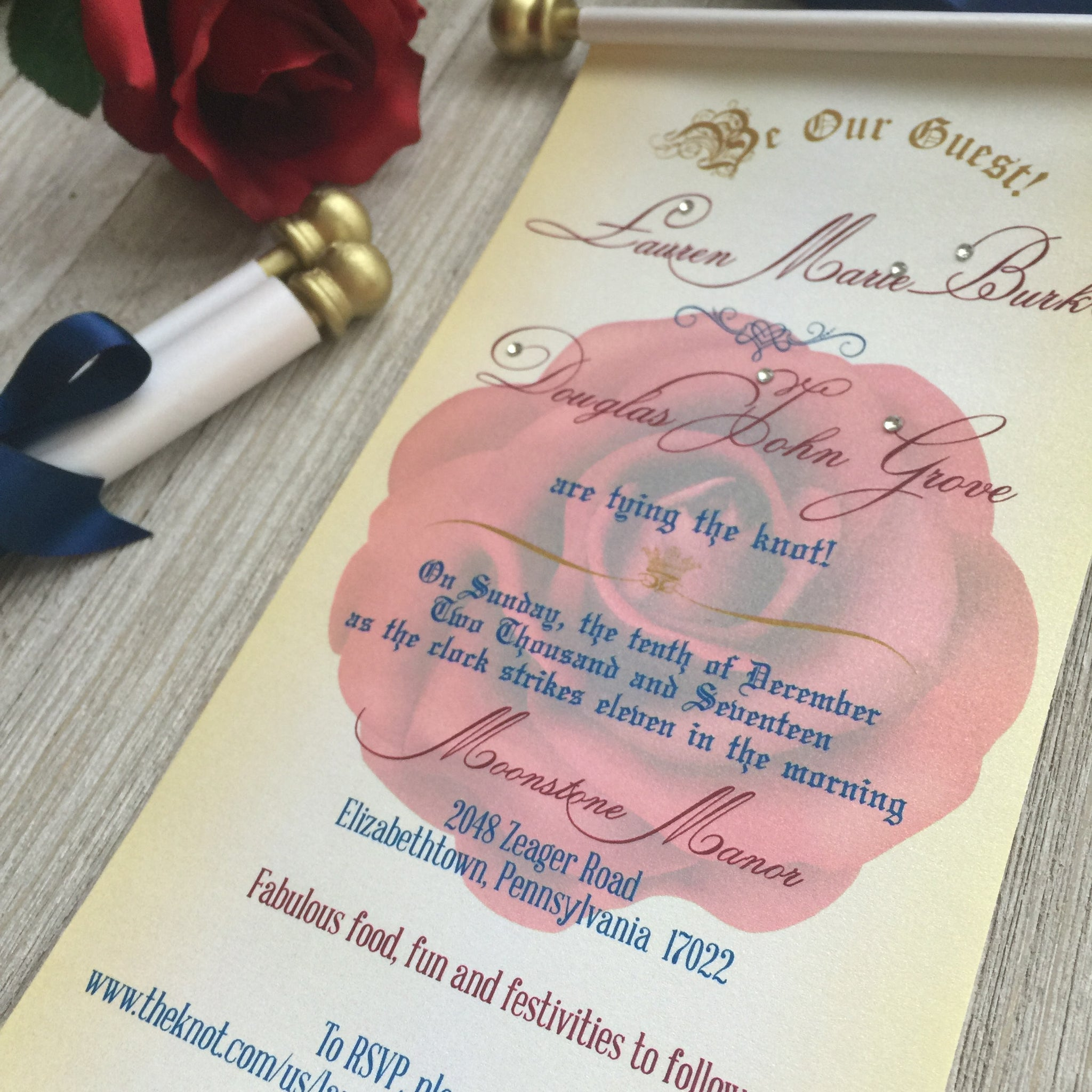 Beauty And The Beast Inspired Wedding Scroll Invitation Sweet 16 Birthday Invite Quinceanera
