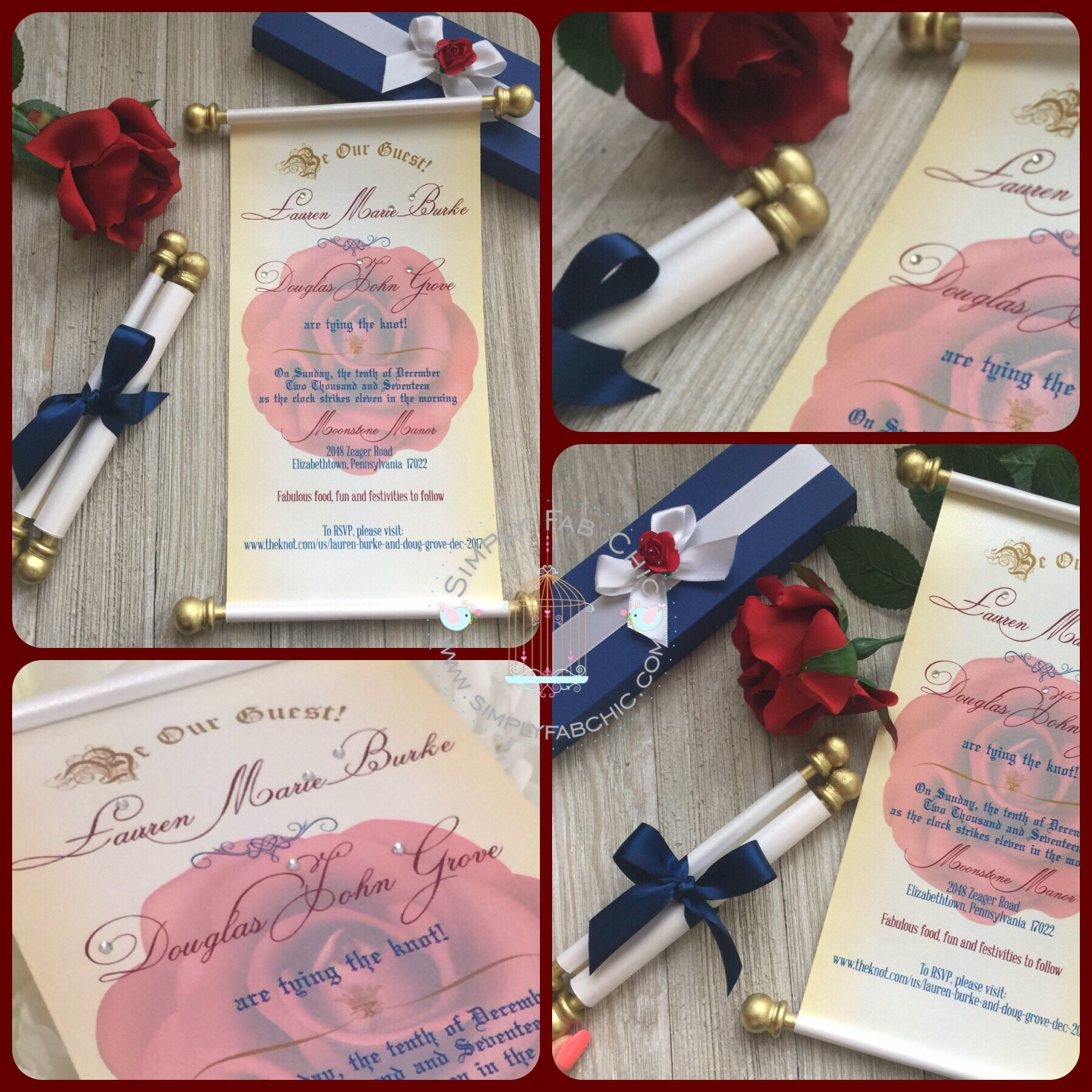 Beauty And The Beast Inspired Wedding Scroll Invitation Sweet 16