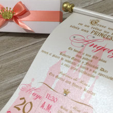 Load image into Gallery viewer, Sweet 16 Spanish Gold Coral Quinceañera Scroll Birthday Invitation - Simply Fab Chic