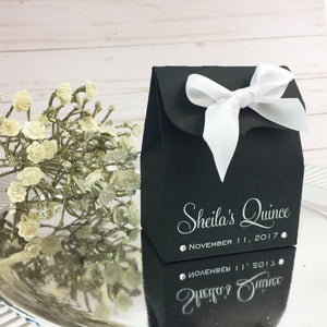 Personalized Quinceanera Favor Box In Black And White Print