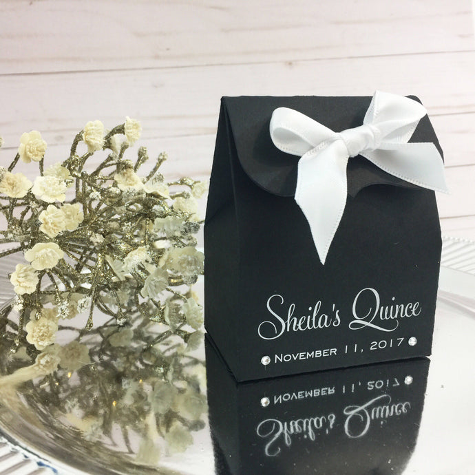 Personalized Quinceanera Favor Box in Black and White Print - Simply Fab Chic