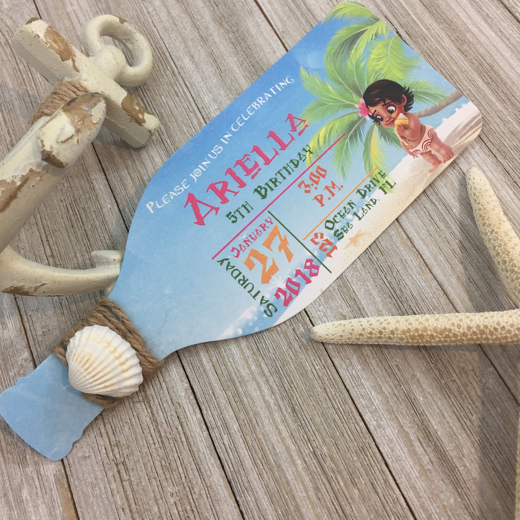 Baby Moana Bottle Invitation | Luau Bottle Invite | Bottle Invitation | Disney Moana Handmade Custom Invitation - Simply Fab Chic
