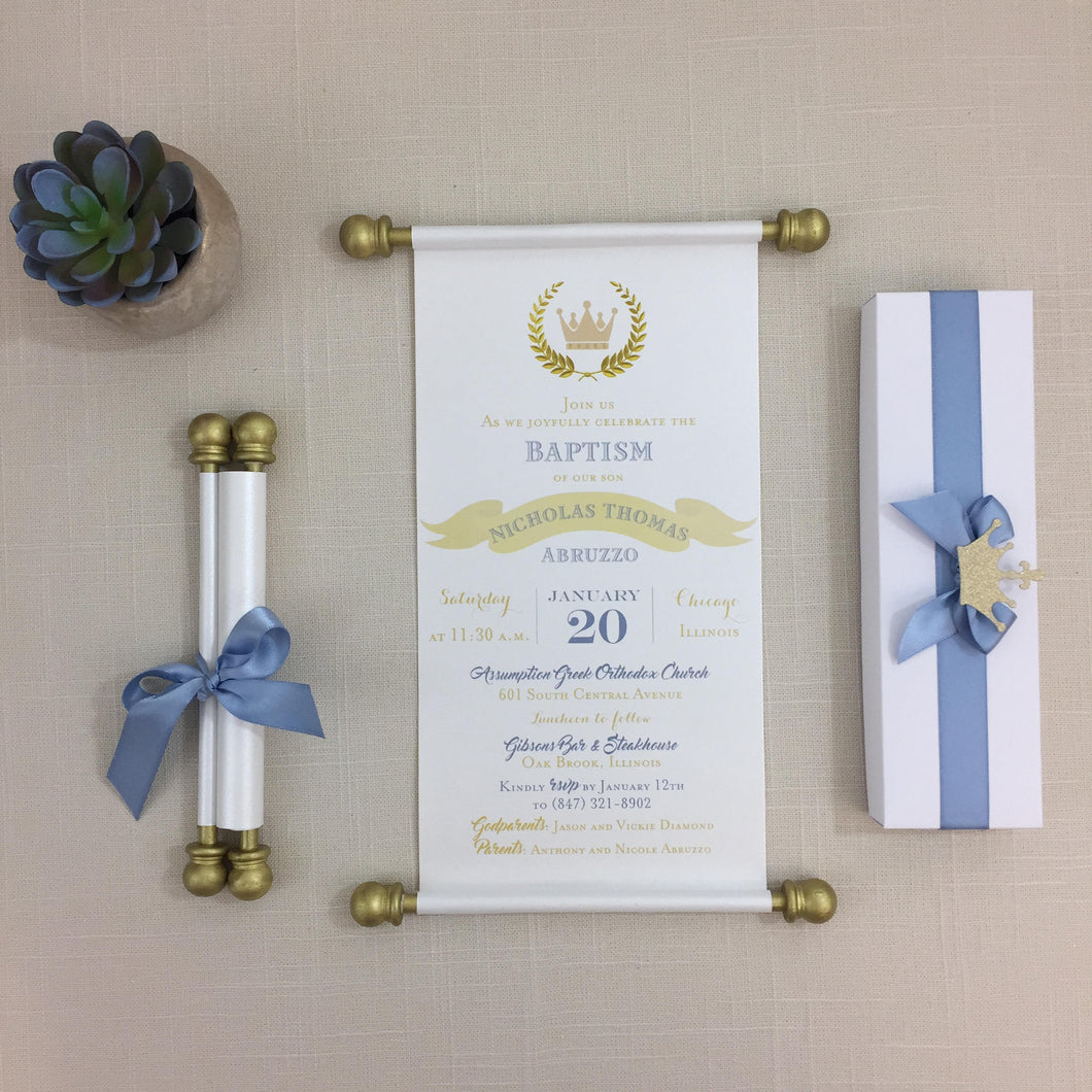 Prince Baptism Blue Gold Scroll Invitation Birthday Invite Christening - Simply Fab Chic
