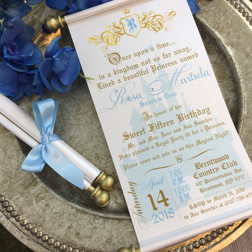 Princess Sweet 16th Birthday Scroll Invitation Cinderella Inspired Royal Quinceañera - Simply Fab Chic
