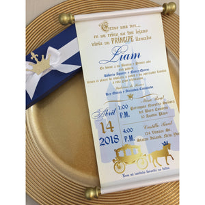 Principe Bautismo y Primer Año Royal Blue Gold Scroll - Simply Fab Chic