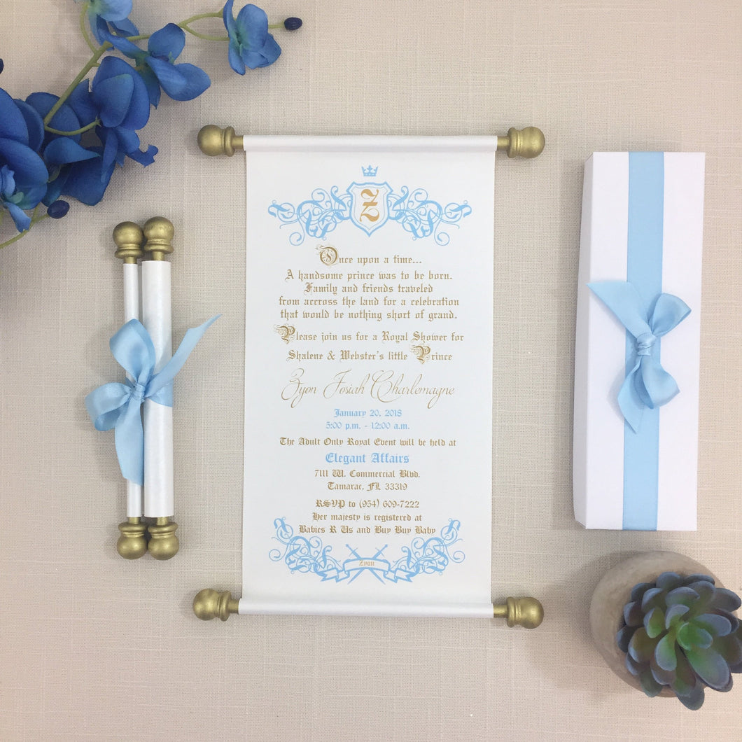 Royal Prince Baby Shower Scroll Invitation in Light Blue White Gold - Simply Fab Chic