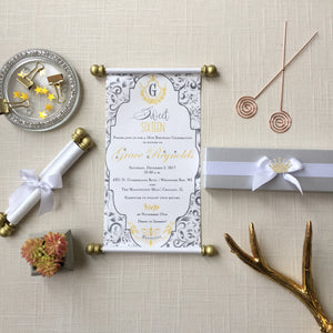 Princess Sweet 16 Quinceañera Scroll Invitation Silver Grey Gold - Simply Fab Chic