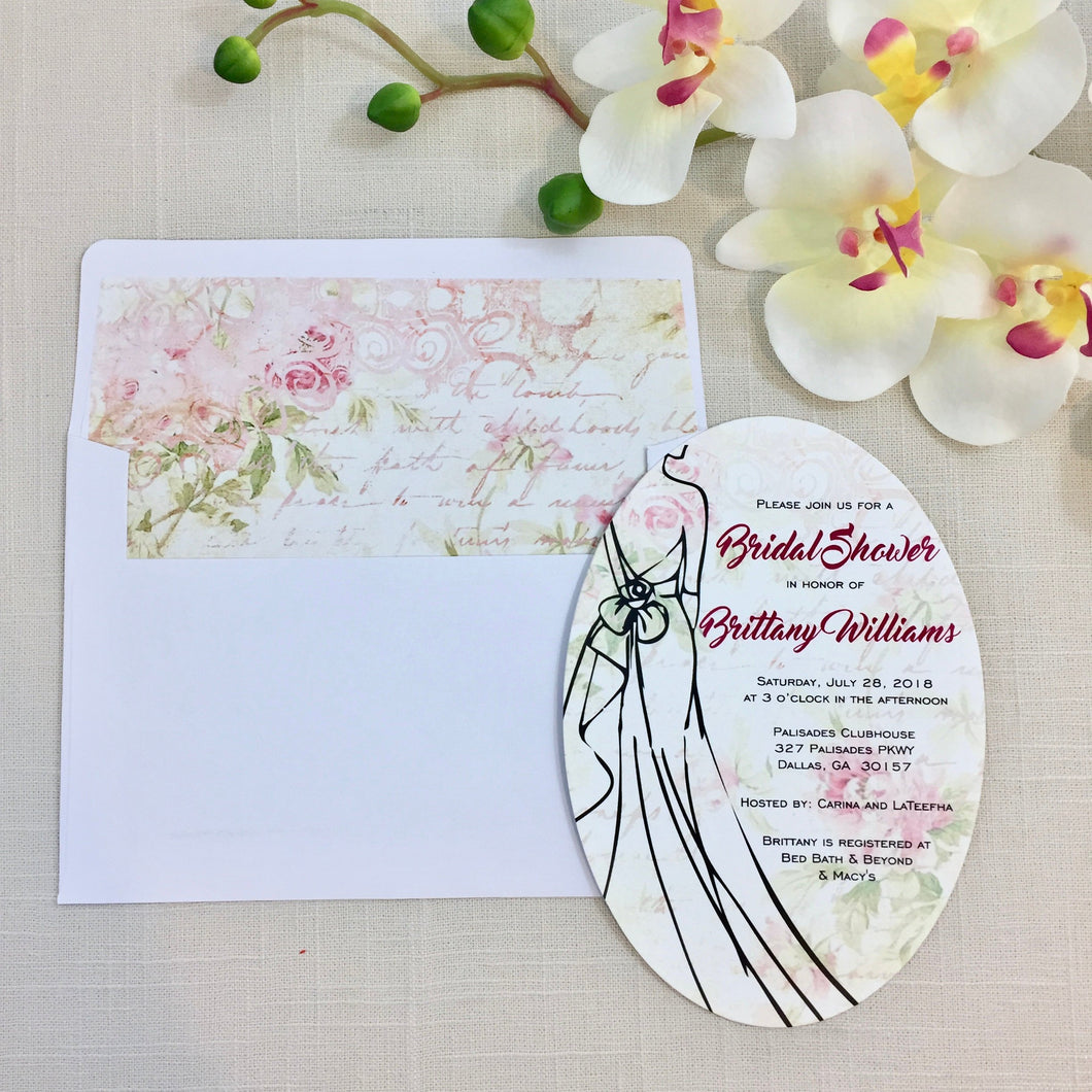 Bridal Shower Victorian Country Shabby Chic Invitation (Min. Set of 10) | Shabby Chic Floral Bridal | Oval Bridal Shower Victorian Vintage - Simply Fab Chic