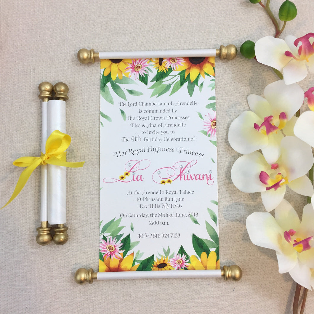 Frozen Fever Sunflower inspired Scroll Birthday Invitation Princess Anna Queen Elsa inspired Invite - Simply Fab Chic