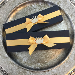 Scroll Invitation Boxes | Black & Gold Scroll Invitation Boxes | Decorated Scroll Invite Box - Simply Fab Chic