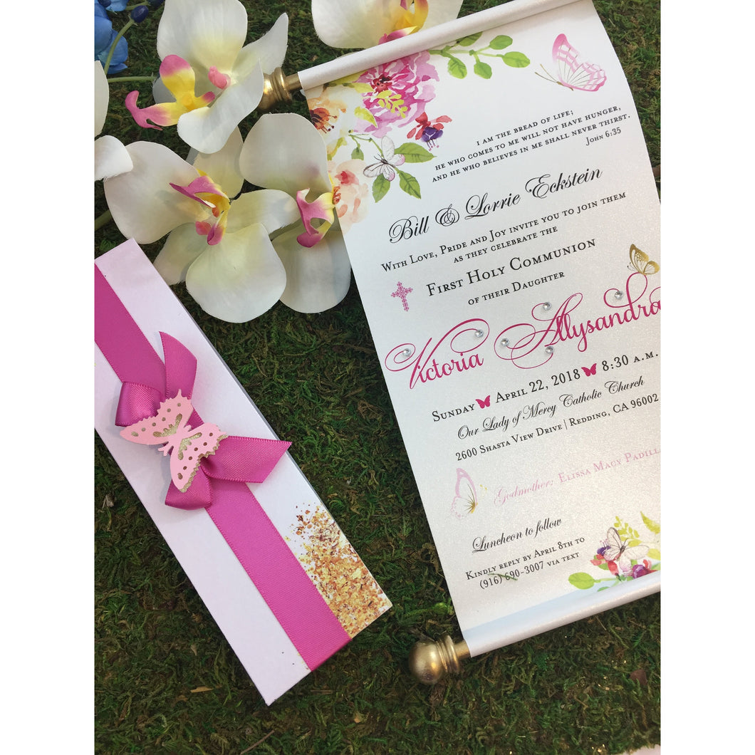 Royal Enchanted Garden Butterfly Scroll Invitation Holy Communion Christening - Simply Fab Chic