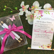 Load image into Gallery viewer, Royal Enchanted Garden Butterfly Scroll Invitation Holy Communion Christening - Simply Fab Chic