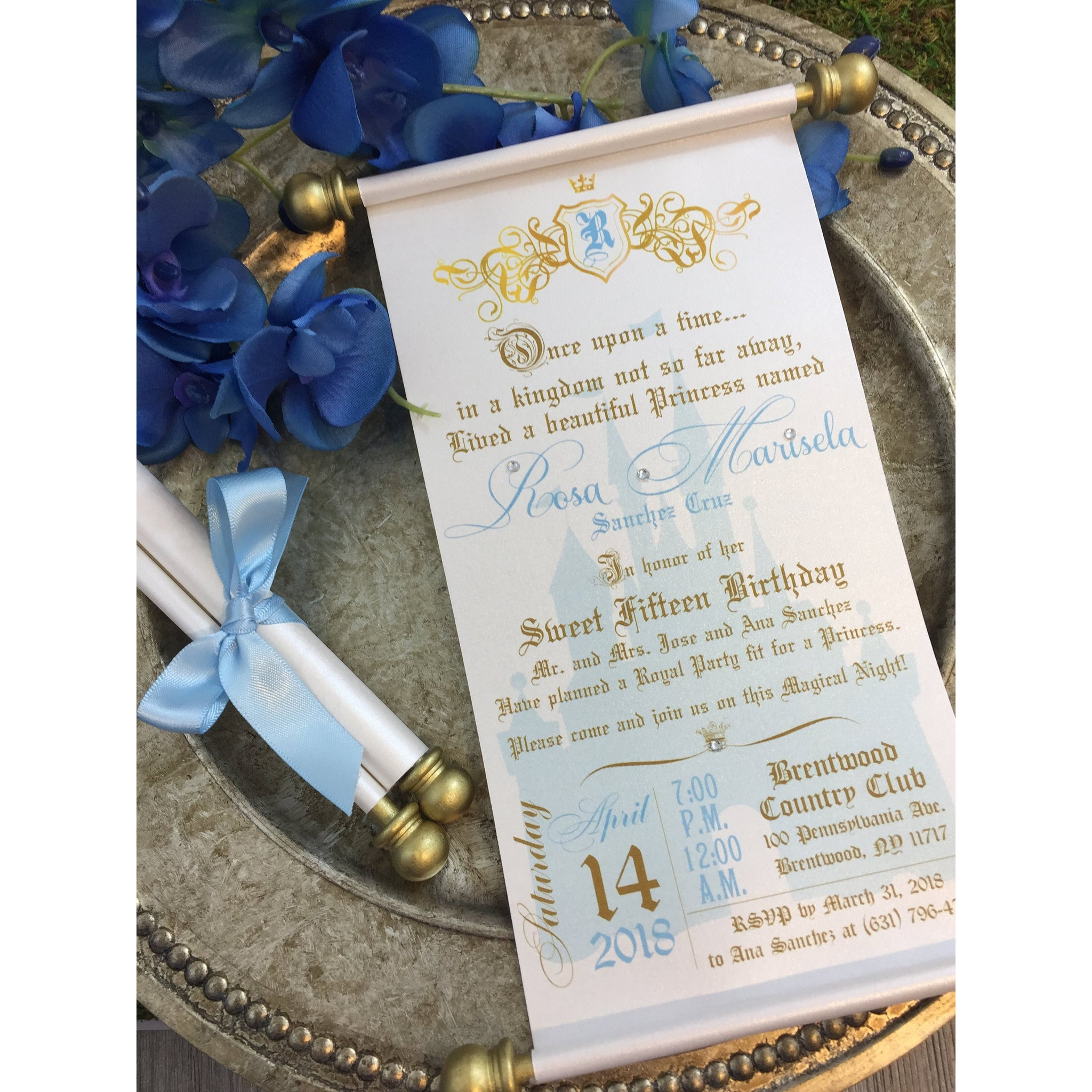 Princess Sweet 16th Birthday Scroll Invitation Cinderella Inspired Royal Quinceanera