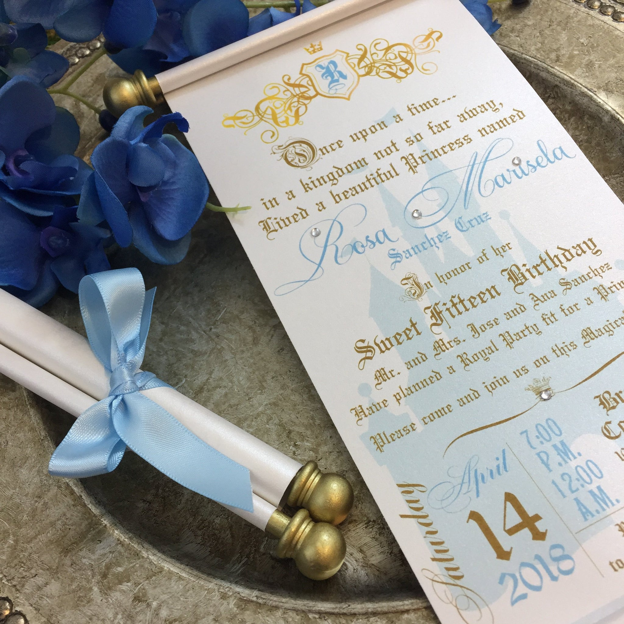 Load Image Into Gallery Viewer Princess Sweet 16th Birthday Scroll Invitation Cinderella Inspired Royal Quinceanera