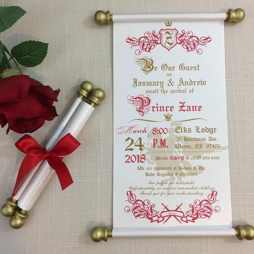 Royal Prince Baby Shower Invite in Red Gold - Simply Fab Chic