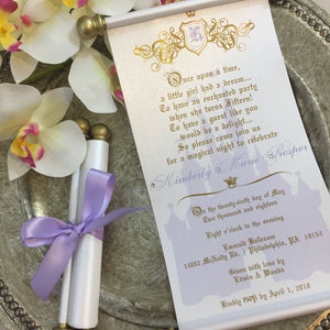 Princess Sweet 16 Lavender & Gold Scroll Birthday Invitation - Simply Fab Chic