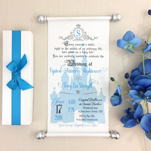 Royal Wedding Scroll Invitation Cinderella Blue & Silver - Simply Fab Chic